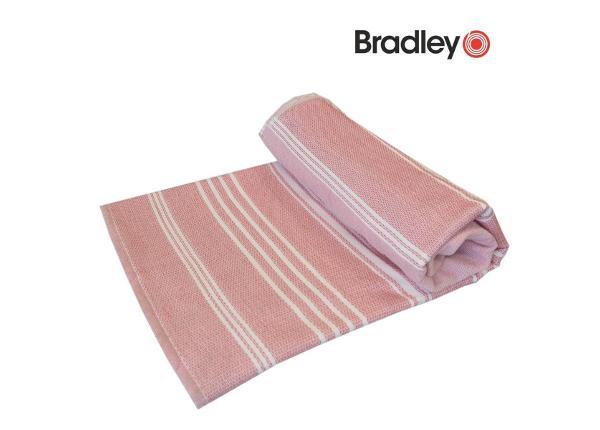 Rantapyyhe 90x170 sileä/frotee raidallinen vaaleanpunainen