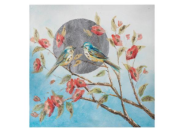Масляная картина Птицы на ветке 60х60 см