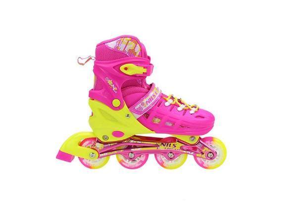 Детские роликовые коньки регулируемые Nils Extreme розовые NA1005 A 39-42