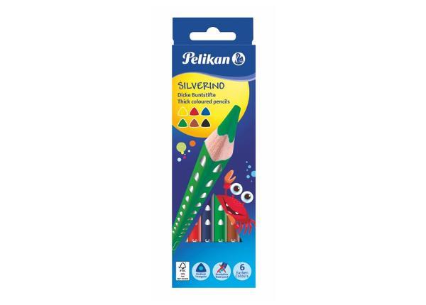 Карандаши цветные 6 цветов Pelikan Silverino