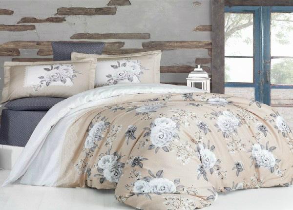 Satiinist voodipesukomplekt Kenzo V1 Beige 200x220 cm
