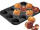 Muffinipann Black metallic 12 pesaga