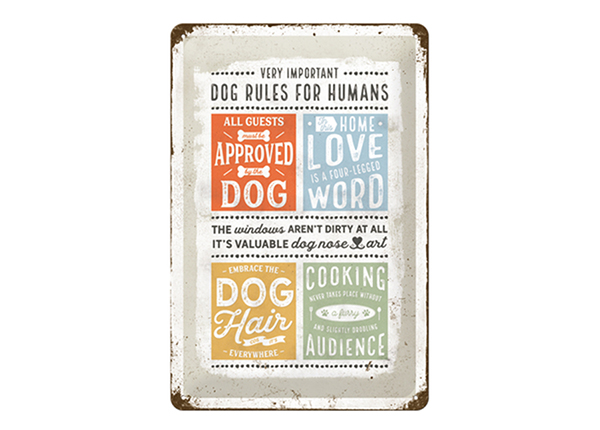 Retro metallposter Dog rules for humans 20x30 cm SG-57064