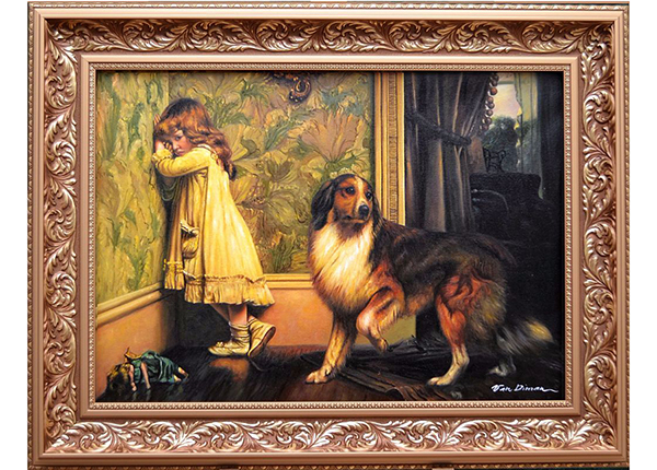 Картина Ребенок с собакой 92x72cm