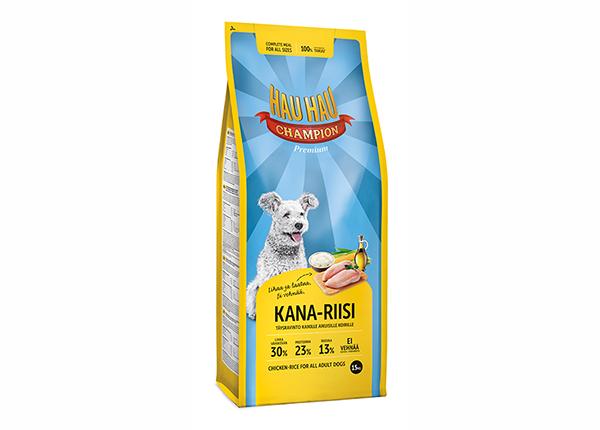 Hau-Hau Champion täysravinto kana ja riisi täyskasvaneelle koiralle 15 kg MC-57946