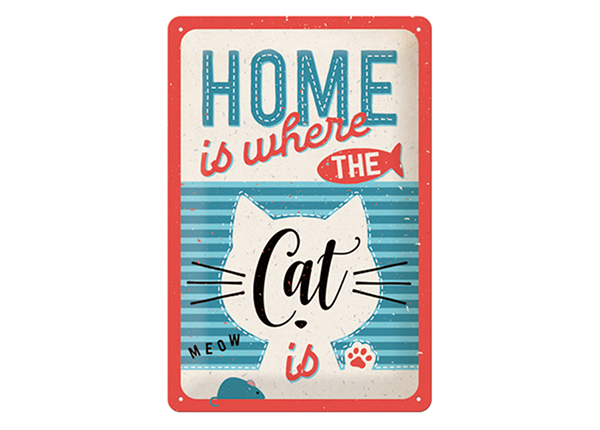Retro metallposter Home is where the cat is 20x30 cm SG-61671