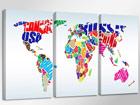 Kolmeosainen seinätaulu WORLDMAP