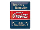 Retrotyylinen metallijuliste COCA-COLA 5c DELICIOUS REFRESHING 30x40cm SG-70335
