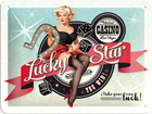 Retro metallijuliste Lucky Star 15x20cm SG-74264