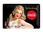 Retro metallposter Coca-Cola Refreshing Naine 20x30cm SG-78407