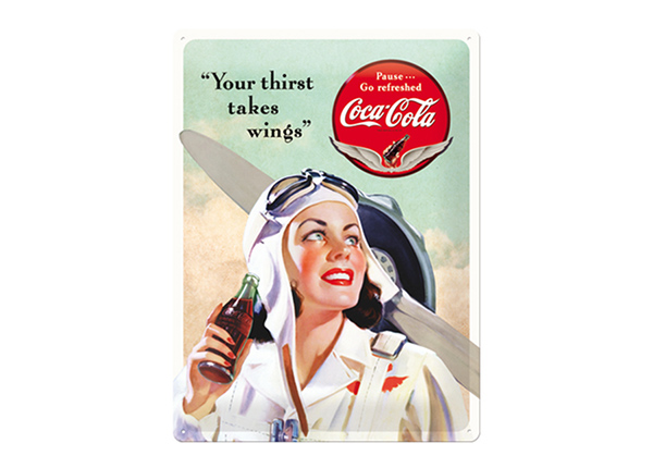 Retro metallposter Coca-Cola Your Thirst Takes Wings 30x40 cm SG-89730