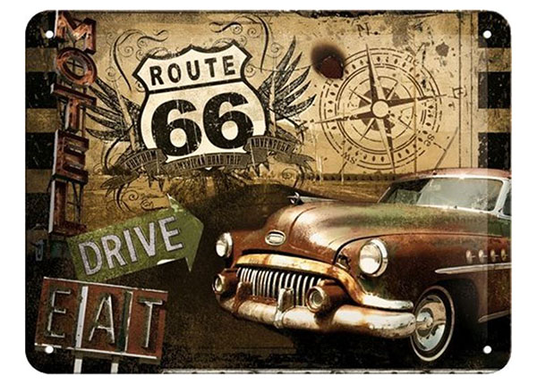 Retro metallposter Route 66 Drive&Eat 30x40 cm SG-89739