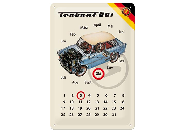 Retro metallikalenteri Trabant 601 20x30 cm SG-90008