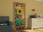 Fleece kuvatapetti SUNFLOWER WITH BRICKS 90x202 cm