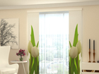 Läbipaistev paneelkardin White Tulips 2, 80x240 cm