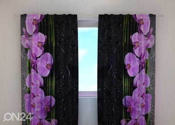 Pimendav kardin Orchids on black 240x220 cm ED-100482