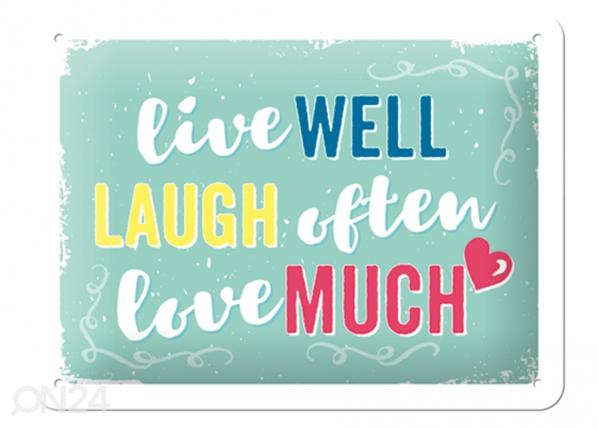 Retro metallijuliste Live well, laugh often, love much 15x20 cm SG-103108