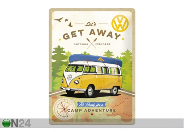 Retro metallposter VW Let's get away 30x40 cm SG-103118
