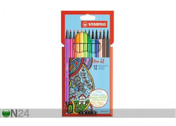 Stabilo kuitukärkikynät Pen 68, 12 väriä BB-104498
