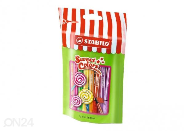 Kuitukärkikynät Lollipop Stabilo Pen 68, 15 väriä BB-104500