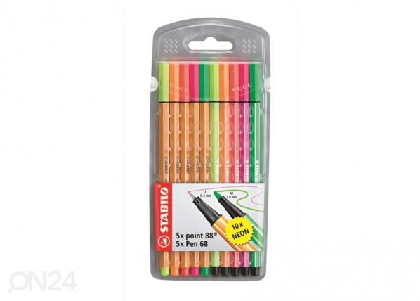 Stabilo kuitukärkikynät Point 88, 5 väriä + Pen68, 5 väriä BB-104514