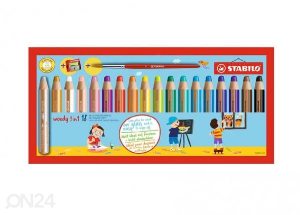 Stabilo värvipliiats Woody + teritaja, 18 värvi BB-104610