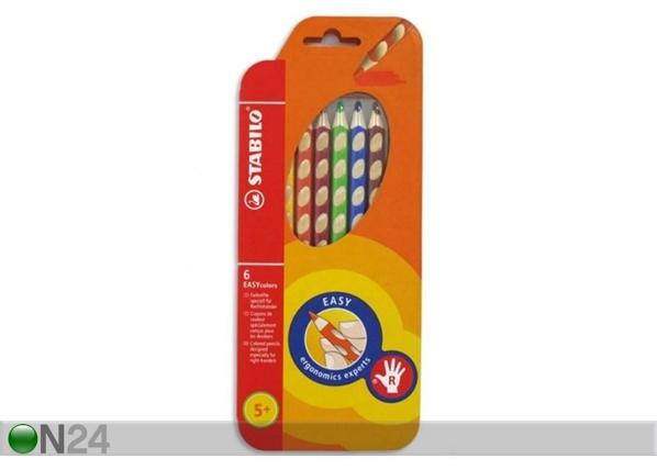 Oikeakätisen STABILO värikynät, 6 väriä+teroitin BB-104617