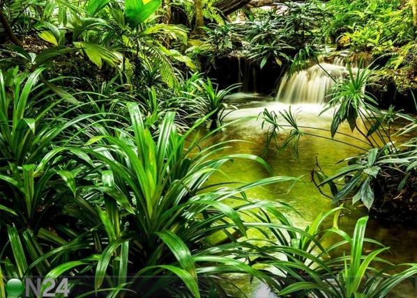 Fliis-fototapeet Jungle waterfall lagoon 360x270 cm ED-109409