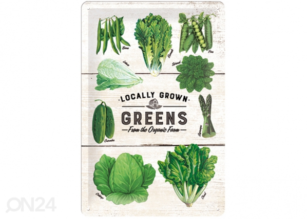 Retro metallijuliste LOGALLY GROWN GREENS 20x30 cm SG-114906