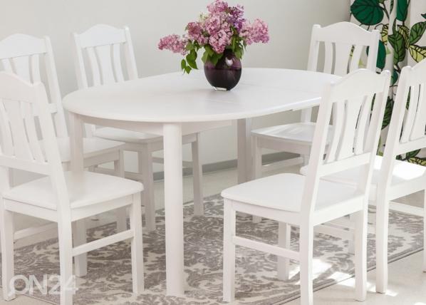 Jatkettava ruokapöytä 100x100-139 cm, valkoinen EC-116850