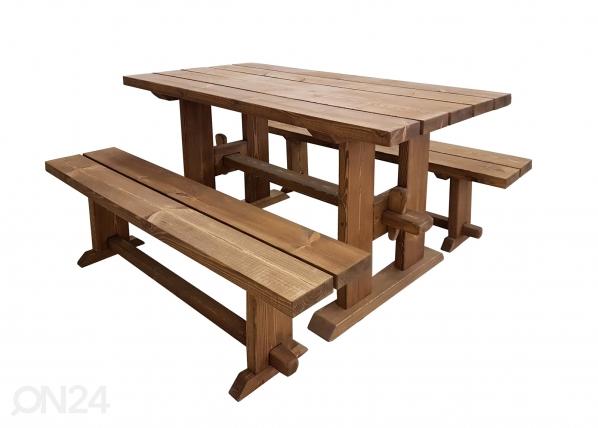 Puutarhapöytä ja penkit MP-117267