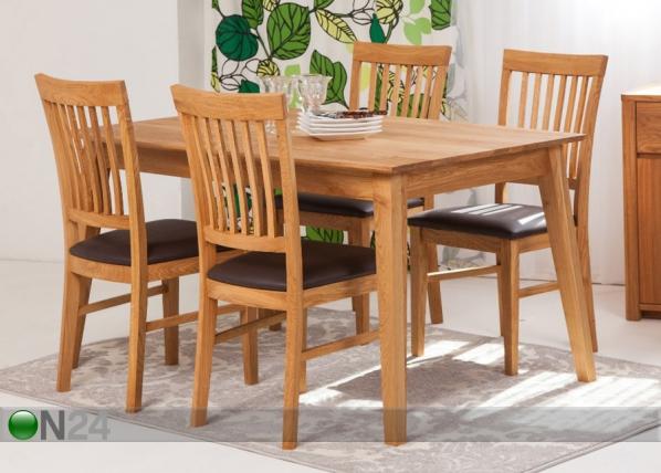 Tammi ruokapöytä GENF + 4 tuolia RONNY EC-125537