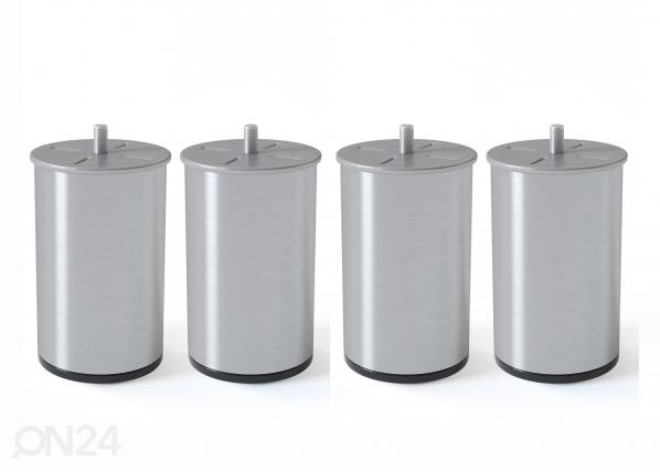 Silndrikujuline metalljalg, harjatud hõbedane 10 cm SW-132618