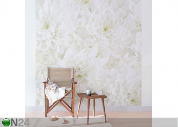 Fleece-kuvatapetti DAHLIAS SEA OF FLOWERS WHITE ED-136634
