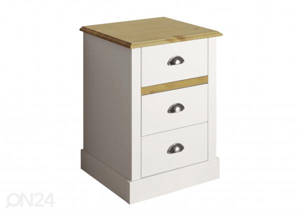 Yöpöytä SANDRINGHAM, valkoinen/tammipetsi CM-142507