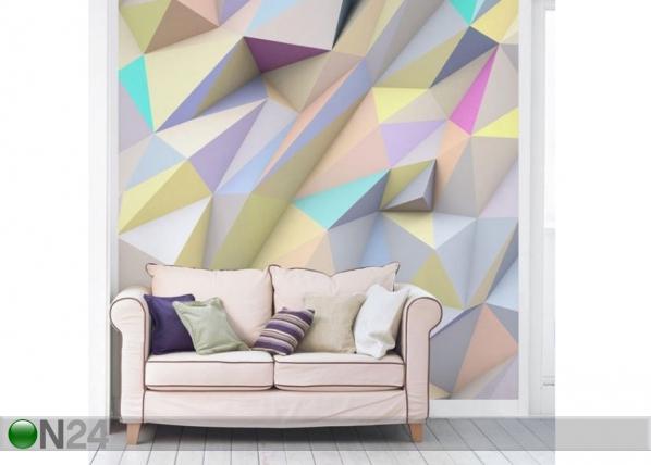 Fleece-kuvatapetti Geometric Pastel Triangles In 3D ED-143485