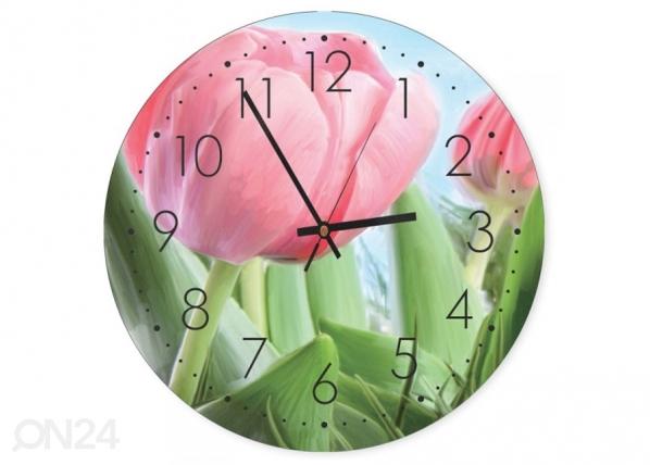 Seinäkello Pink tulips kuvalla ED-144598