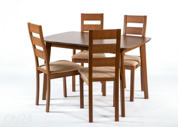 Pikendatav söögilaud Bari 80x120-150 cm + 4 tooli Parma, pähkel GO-145350