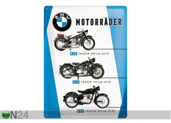 Retro metallposter BMW Mootorrattad 30x40 cm SG-153929