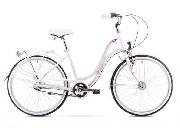 Naisten kaupunkipyörä 19 L Rower ROMET POP ART 26, valkoinen TC-156075
