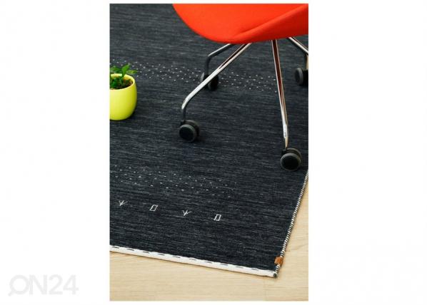 Narma käsinkudottu villamatto Tornio charcoal 140x200 cm NA-182240