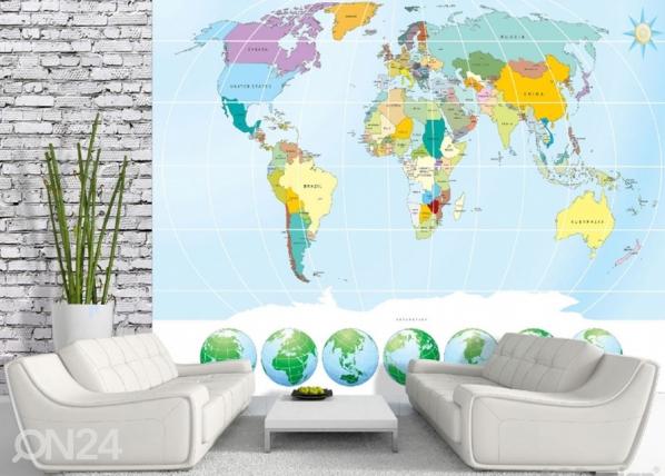 Fliistapeet World map 3 360x270cm ED-182331