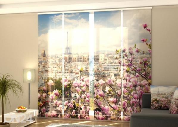 Полузатемняющая панельная штора Eiffel Tower with Blooming Magnolia 240x240 см ED-189439