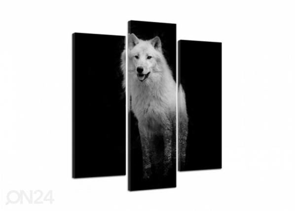 Kolmeosaline seinapilt White Wolf 3D 90x80 cm ED-194319