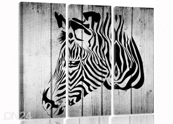 Kolmeosaline seinapilt Zebra on boards 3D ED-194323