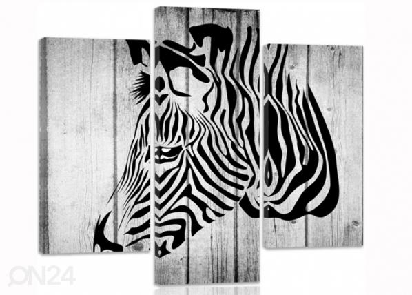 Kolmeosaline seinapilt Zebra on boards 3D ED-194324