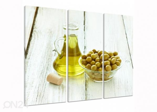 Kolmeosaline seinapilt Olives in a bowl 3D ED-194331