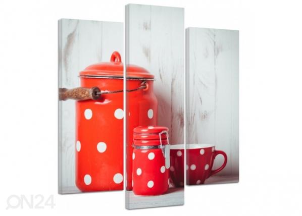 Kolmeosainen seinätaulu Red Dishes 3D ED-194392