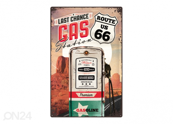 Retro metallposter Route 66 Last chance gas station 40x60 cm SG-195318