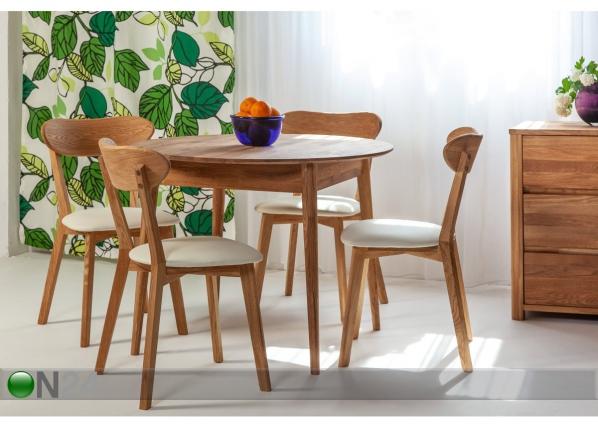 Tammepuust söögilaud Scan Ø85 cm+ 4 tooli Irma EC-195693
